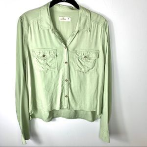 Hollister long sleeve button women's shirt size M